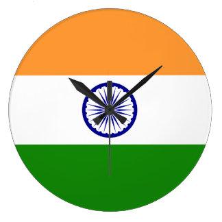 Indien-Flagge Große Wanduhr