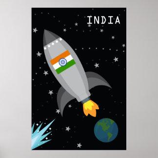 Indien-Flaggen-Rocket-Schiff Poster
