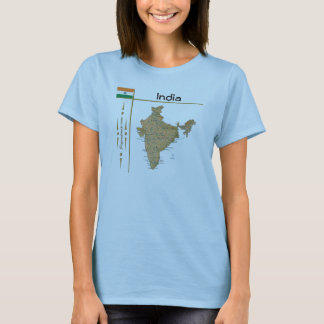 Indien-Karte + Flagge + Titel-T - Shirt