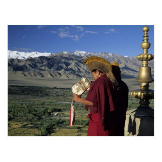 Indien, Ladakh, Thikse. Schläge des buddhistischen Postkarte
