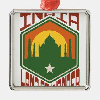 Indien-Land des Wunders Quadratisches Silberfarbenes Ornament