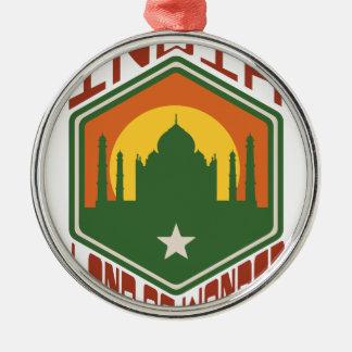 Indien-Land des Wunders Rundes Silberfarbenes Ornament