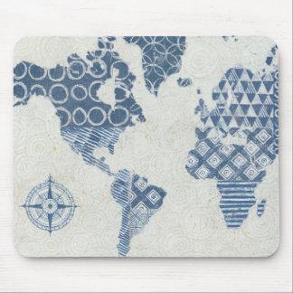 Indigo-Blau-Batik-Karte der Welt Mousepad