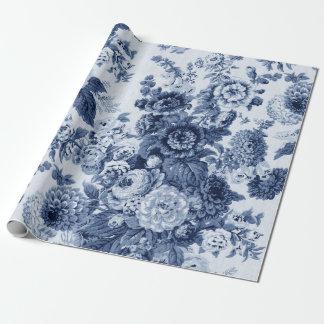 Indigo-Blau Schwarz-weißes Vintages BlumenToile Geschenkpapier