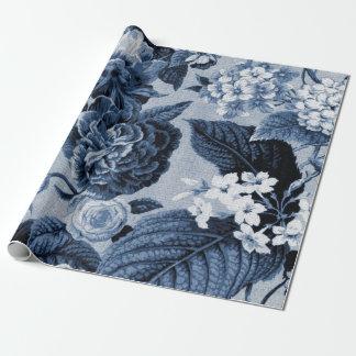 Indigo-Blau Vintages BlumenToile Gewebe No.1 Geschenkpapier