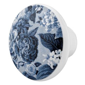 Indigo-Blau Vintages BlumenToile No.1 Keramikknauf