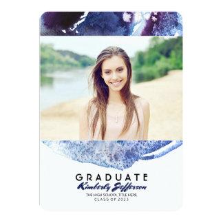 Indigo-Blauwatercolor-Foto-Abschluss-Party 12,7 X 17,8 Cm Einladungskarte