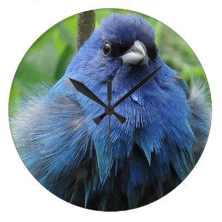 Indigo-Flaggen-Vogel-Tier-Tier-Wanduhr Große Wanduhr