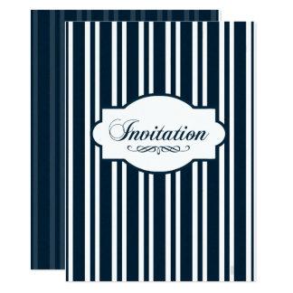 Indigo-grafischer Seestreifen 14 X 19,5 Cm Einladungskarte