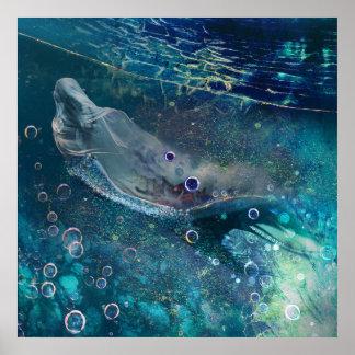 Indigo-Zauber-Unterwassermeerjungfrau Poster