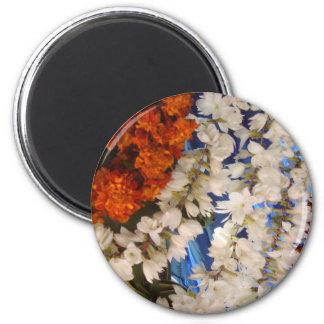 Indische Blumen-Girlanden Runder Magnet 5,1 Cm