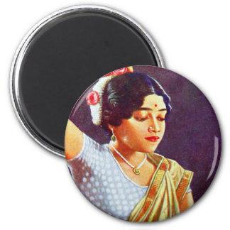 Indische Frauen-Schönheit Vintage Retro Frauen-Ind Kühlschrankmagnet