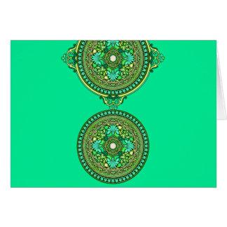 Indische Grün-und Aqua-Disc mit Monogramm Karte