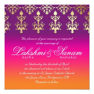 Indische Hochzeit laden Damast-rosa lila Orange Quadratische 13,3 Cm Einladungskarte