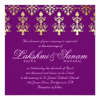 Indische Hochzeit laden das lila Damast-Gold ein Quadratische 13,3 Cm Einladungskarte