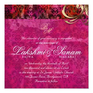 Indische Hochzeit laden das rosarote Damast-Gold Quadratische 13,3 Cm Einladungskarte