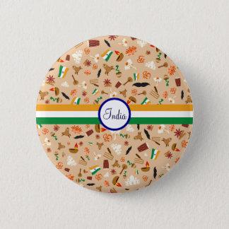 Indische kulturelle Einzelteile mit Flagge und Runder Button 5,1 Cm