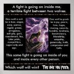 Indische Parabel: Zwei Wölfe Plakatdruck