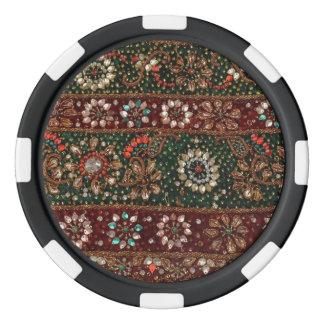 Indische Textilstickerei Bling Weihnachtsindiens Pokerchips