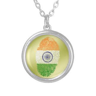Indische Touchfingerabdruckflagge Halskette Mit Rundem Anhänger