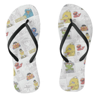 Indischer Sesam StreetVintage Comic-Muster Flip Flops