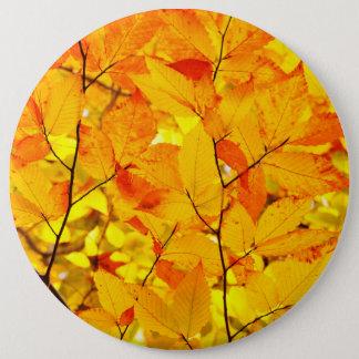 Indischer Sommer, gelber Herbst-Herbstlaub Runder Button 15,3 Cm