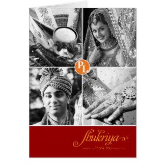 Indisches Foto der Hochzeits-4 danken Ihnen zu Karte