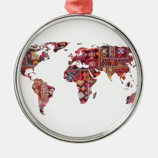 Indisches Gewebe-Karten-ErdPatchwork Rundes Silberfarbenes Ornament