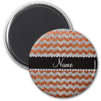 Individueller Name gebrannte orange silberne Kühlschrankmagnete