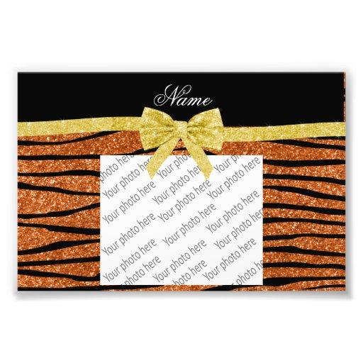 Individueller Name gebrannter orange Glitter Zebra Fotodruck