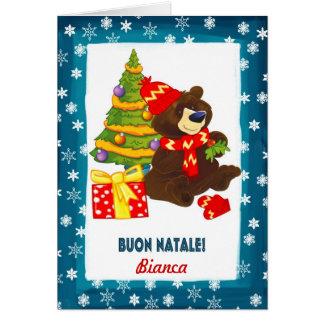 Individueller Name. Italienische Weihnachtskarte Karte