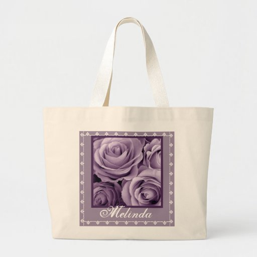 INDIVIDUELLER NAME lila Rosen-Blumenstrauß und Spi Leinentaschen
