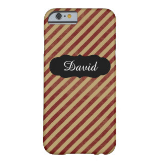 Individueller Name Retro roter gestreifter iPhone Barely There iPhone 6 Hülle