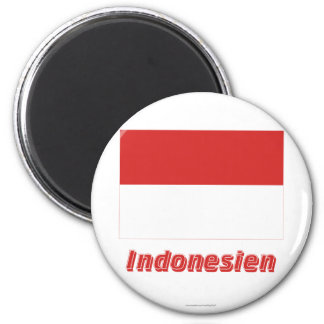 Indonesien Flagge MIT Namen Magnete