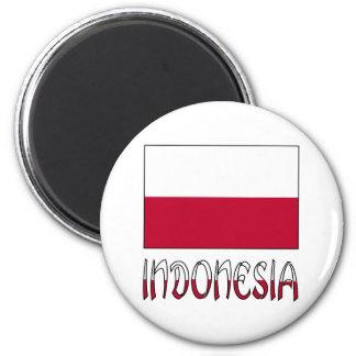 Indonesienflagge und -wort runder magnet 5,7 cm