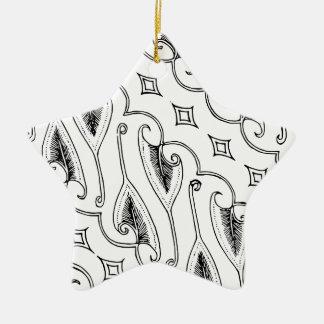 Indonesisches Blatt-Textilmuster mit Diamanten Keramik Ornament