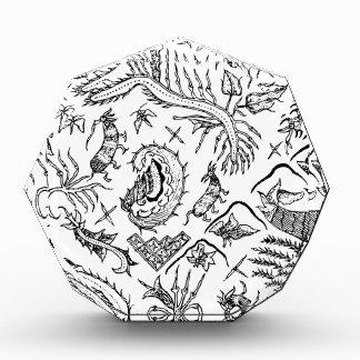 Indonesisches Insekten-u. Pflanzen-Textilmuster Acryl Auszeichnung