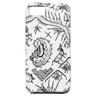 Indonesisches Insekten-u. Pflanzen-Textilmuster Etui Fürs iPhone 5