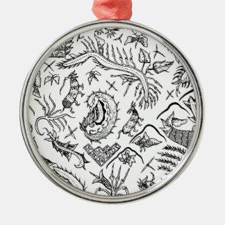 Indonesisches Insekten-u. Pflanzen-Textilmuster Rundes Silberfarbenes Ornament