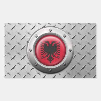 Industrielle albanische Flagge mit Stahlgraphik Rechteckige Sticker