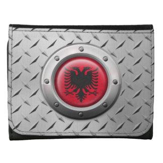 Industrielle albanische Flagge mit Stahlgraphik