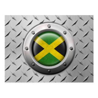 Industrielle jamaikanische Flagge mit Stahlgraphik Postkarte