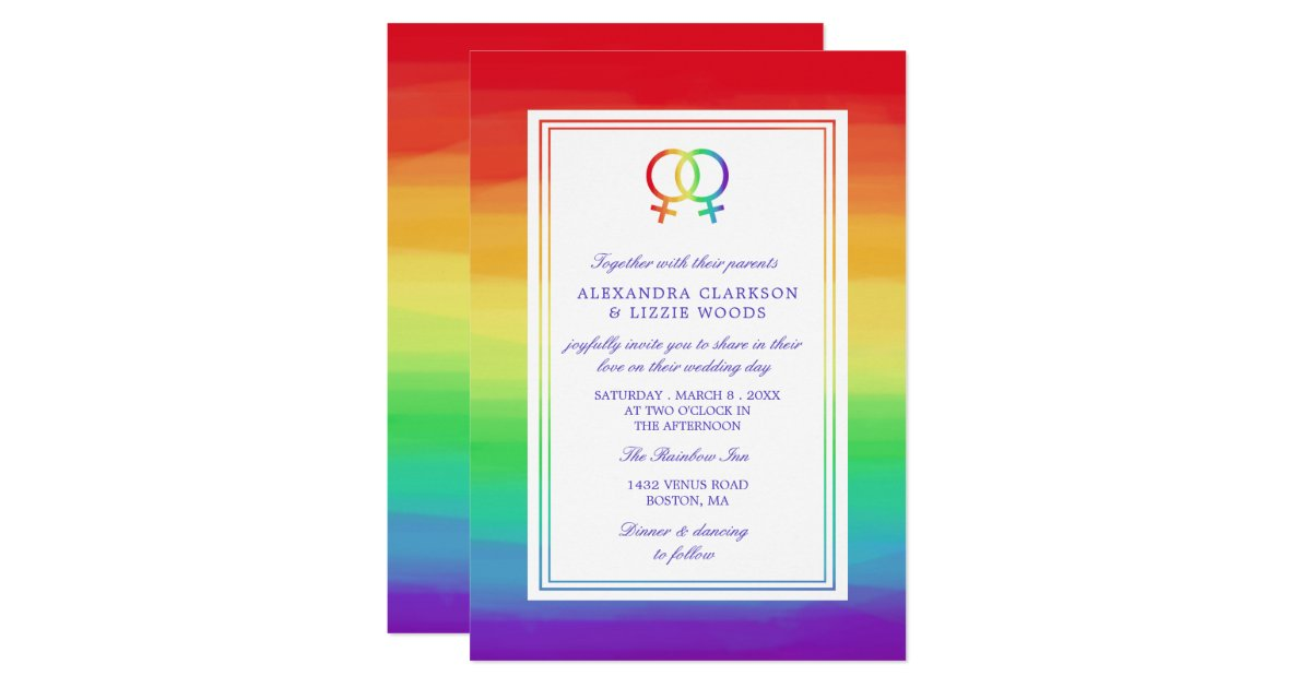Ineinandergegriffene lesbische Hochzeit Einladung   Zazzle