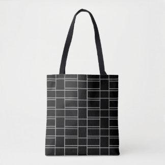 Ineinandergreifendes Schwarzweiss-Rechteck-Muster Tasche