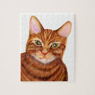 Ingwer-Katzen-Wasserfarbe-Grafik-Malerei Puzzle