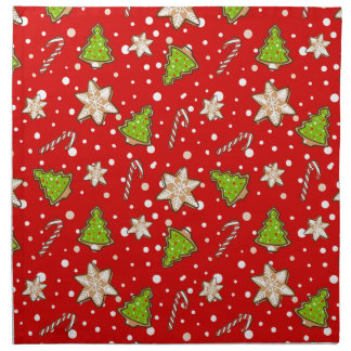 Ingwerplätzchen Weihnachtsmuster Stoffserviette