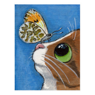 Ingwertabby-Katze und Schmetterling Postkarte