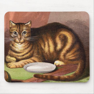 Ingwertabby-Katzen-Vintage Illustration Mousepads