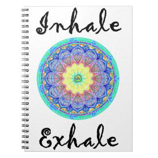 inhalieren Sie ausatmen Spiral Notizblock
