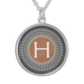 Initiale auf Brown mit silbernes Grau-Halskette Sterlingsilber Halsketten
